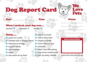 We Love Pets Dog Walking Boarding Report Card